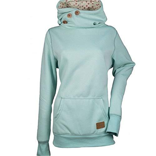 JCNWEO Frauen Hoodie Sweatshirt Knöpfe Langarm Tasche Plus Size Patchwork Warm Skinny Hot Hoodies Blue S