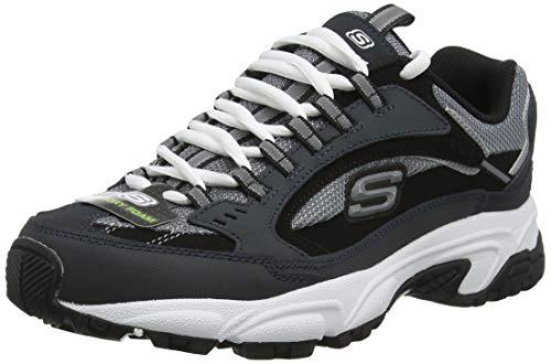 Skechers Stamina Cutback, Zapatilla Deportiva con Cordones para Hombre, Azul (Navy & Black Leather/Charcoal Mesh Nvbk), 39 EU