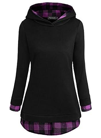 EA Selection Women's Plaid Long Sleeve 2-in-1 Top Hoodie Black-4 Large
