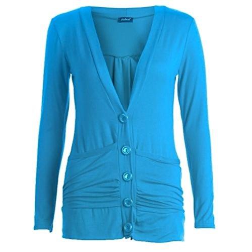 Pulsante a maniche lunghe Boyfriend Cardigan Jumper Plus sizes16/26 Blu