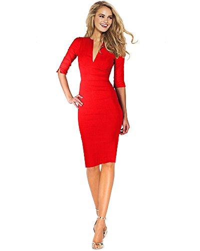 432919a64b2f1b *DREZZ2IMPREZZ Business Kleid ETUIKLEID ¾ ARM Knielang ROT - Angelina 34-44  Made in Germany (36)