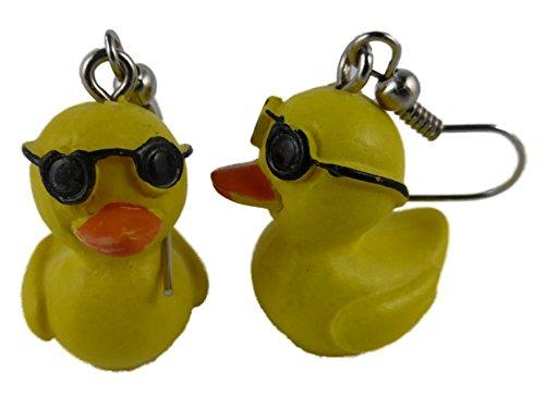 Ohrringe Ohrhänger Hänger gelb Ente mit Sonnenbrille Entchen Badewanne 8740