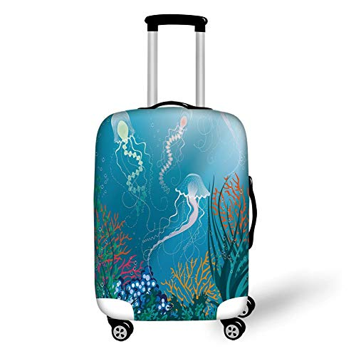 Travel Luggage Cover Suitcase Protector,Aquarium,Artistic Jellyfishes Swimming Under The Sea Coral Reef Plants Oceanic Fauna,Blue Pink Orange,for TravelXL 29.9x39.7Inch -