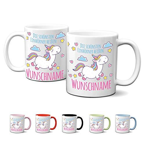 Partycards Personalisierte Tassen als Geschenkidee mit verschiedenen Motiven - Kaffebecher (Die schönsten Einhörner heißen ..., 330ml)