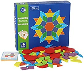 Emob Wooden 130 PCS Geometric Shape Blocks Learning Puzzle Game with 24 Pattern Cards