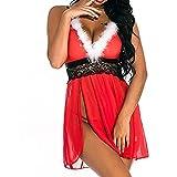 LSXZZY Xmas Camicia da Notte da Donna con Cinturino Donna Sexy Abito di Natale Costumi di Abbigliamento da Babbo Natale Vestito Operato da Festa Nero M