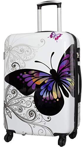 Trendyshop365 Weißer Hartschalen City-Koffer Motiv Schmetterling Bedruckt - 67 Zentimeter 68 Liter 4 Rollen Butterfly