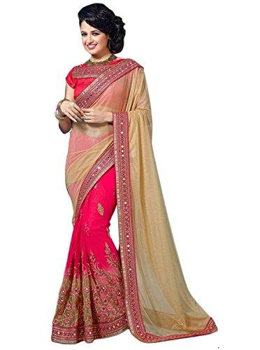 Nivah Fashion Women\'s Laycra / Net Half & Half Embroidery With Diamond\'s Material Pink/Chiku Saree...K590A(M)