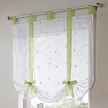 Souarts Grün Stickerei Blumen Transparent Gardine Vorhang Raffgardinen  Raffrollo Schlaufenschal Deko Für Wohnzimmer Schlafzimmer Studierzimmer  120x140cm