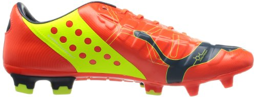Puma  evoPOWER 1 FG, Chaussures de football pour homme Rouge - Red - Rot (fluro peach-ombre blue-fluro yellow 01)
