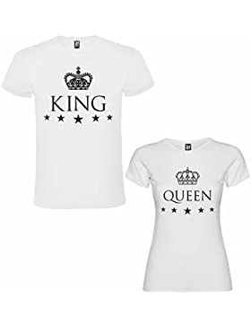 DALIM Pack DE 2 Camisetas Blancas Para Parejas, King y Queen, Negro