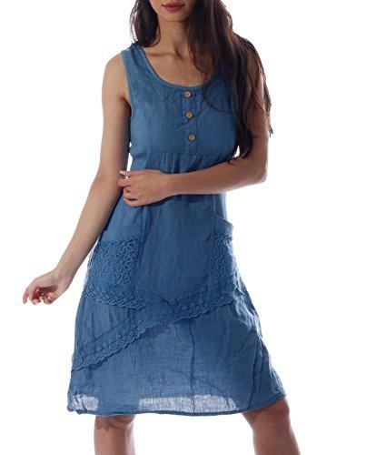 CHARIS MODA Kleider Leinen ärmellos mit schönen Details Sommerkleid (40, Jeans Blau mit Knöpfen) (Spitze Kleid Detail)