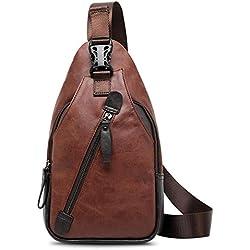 Koolertron Bolsa de hombro vintage en piel sintética, mochila en bandolera para deporte, senderismo, bicicleta, mochila de viaje, mochila escolar, bolsa de camping, Brown B