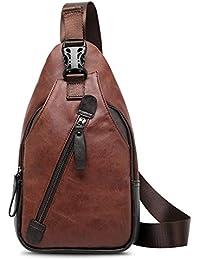 Koolertron Vintage Sac porté épaule sac de poitrine à bandoulière Homme pour Quotidien Travail Ecole Loisir Voyage