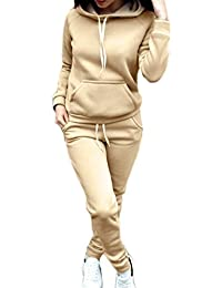 c01578effa0b MEIHAOWEI Autunno Inverno Donna 2 Pezzi Set Spessa Manica Lunga Coulisse  Colore Solido Sportswear Ladies Girls