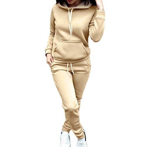 Chandal Conjunto para Mujer Moda Otoño Invierno Casual Conjuntos Deportivos Manga Larga Sweatshirt Sudadera con Capucha + Pantalones 2pcs