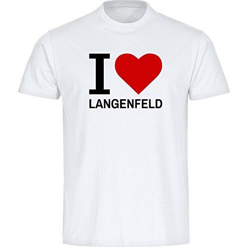 T-Shirt Classic I Love Langenfeld weiß Kinder Gr. 128 bis 176 - Lustig Witzig Sprüche Party Funshirt, Größe:176