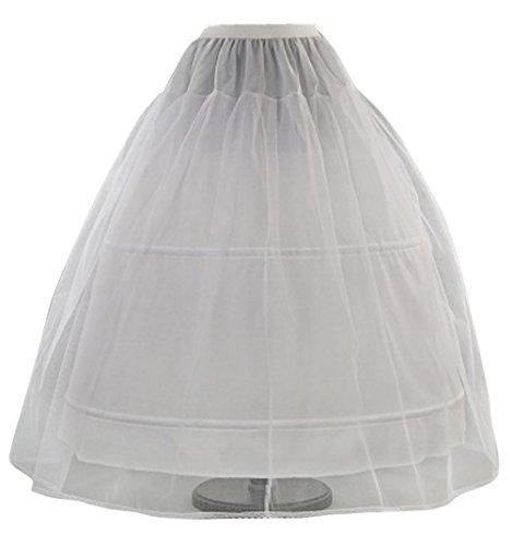 Romantic-Fashion Damen Reifrock Petticoat Tüllrock 2 Reifen Umfang 300cm Verstellbar Weiß Zum Brautkleid Ballkleid Hochzeitskleid