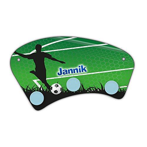 Wand-Garderobe mit Namen Jannik und schönem Fußball-Motiv für Jungs - Garderobe für Kinder - Wandgarderobe