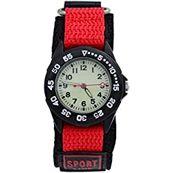 Affute Sports Waterproof Gift Watch with Canvas Nylon Strap Light Luminous for Boy Girl Kids Student (Red)