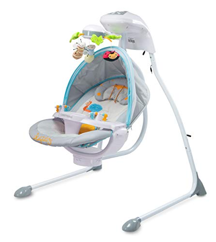 Elektrische Babyschaukel Schaukelwippe CARETERO BUGIES GRAU mit Mobile Timer