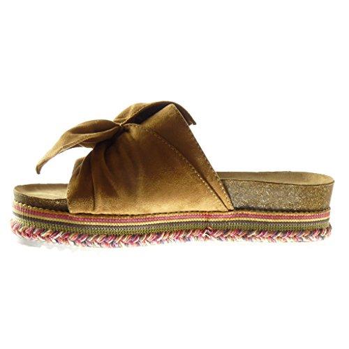 Angkorly - Scarpe Moda sandali zeppe slip-on donna papillon intrecciato Tacco zeppa piattaforma 5 CM Cammello