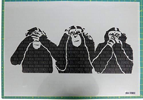 3 Weise Affen Groß Schablone / Heim Dekoration Kunst Handwerk / Malen Schablone für Wände, Stoffe, Möbel / Wiederverwendbar (Affen-kunst Handwerk Und)