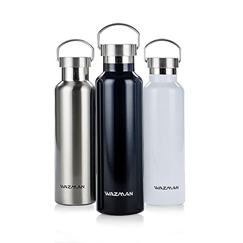 c1b2ef5273 WAZMAN Stainless Steel Vacuum Insulated Sports Water Bottle, Standard  Mouth, Double Wall Design,