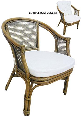 Sf savino filippo poltrona sedia in vimini bambù giunco vienna rattan marrone noce con cuscini per casa camera salotto bar bamboo
