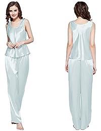 LILYSILK Ensembles de Pyjama en Soie 3 pièces pour Femme, Pyjama Sans Manches de luxe en Soie de Mûrier Confortable, Certificat OEKO-TEX Standard 100
