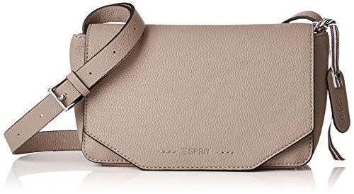 Esprit Accessoires Damen 029ea1o011 Umhängetasche, Beige (Light Taupe), 9x12x21 cm - Beige Stoff Handtaschen