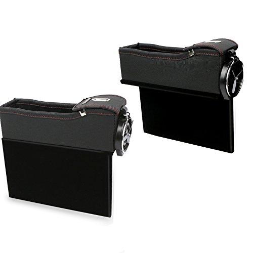 FancyAuto Autositz Seiten Schlitz Taschen Auto-Sitzablagefach Organizer PU Leder Utensilientasche für Auto füllt Lücken Zwischen den Sitzen