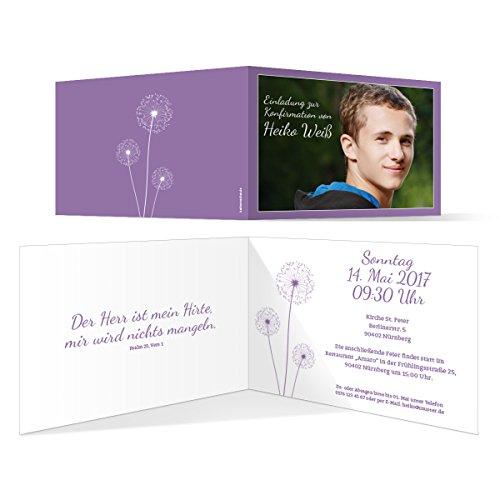Konfirmation Einladungskarten (30 Stück) - Pusteblume in Lila - Konfirmationskarten Einladung