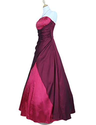 JuJu & Christine Langes Damen Star Satin Abendkleid Ballkleid Diamante vers. Farben Gr. 34 - 56 Bordeaux