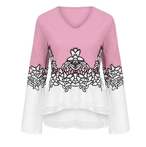 SEWORLD Mantel Blumenspitze Farbblock Chiffon Damen Langarm Warmer Freizeit Sport V-Ausschnitt Aufflackern Hülse Bluse Top Bluse für Winter/Herbst/Frühling(X1-rosa,EU-44/CN-2XL)