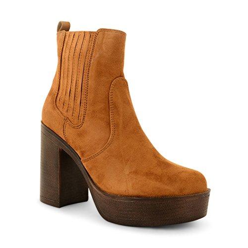 neuen Damen Block geschoben Ferse Damen Chelsea Plattform Stiefelette Schuhe Größe PD7-Tan Suede