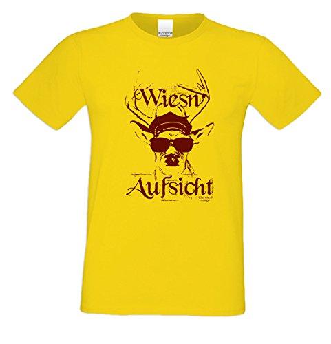 Witziges-Herren-Sprüche-Fun-T-Shirt cooles Volksfest Oktoberfest Party Outfit Motiv Wiesn - Aufsicht auch in Übergrößen Farbe: gelb Gelb