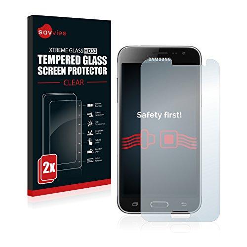 Savvies Panzerglas kompatibel mit Samsung Galaxy J3 / J3 Duos (2016) [2er Pack] - Echtglas Schutzfolie 9H