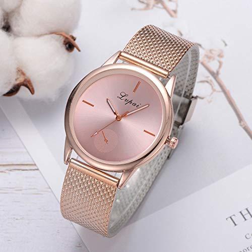 Uhren Damen Armbanduhr Damen Klassisch Uhr Leder Wristwatch Stainless Steel Dial Quartz Wrist Watch mit Edelstahl Uhrenarmband,ABsoar