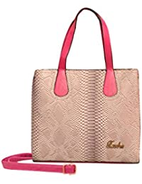 ROYAL COLLECTION,Beautiful Women's Printed Handbag (R-007), COLOUR- Pink, Off-white