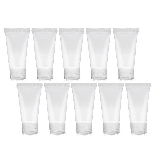 Lot de 10 Bouteilles Transparentes Vides à Remplir SMARTrich 15 mL en PVC pour Gommage du Visage ou Maquillage