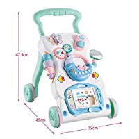 BBYYOP Applicable To 6-18 Months Baby Child Early Education Baby Toddler Hand Push Multi-Function Anti-Rollover Speed Control Learning Step Music Baby Stroller Toy