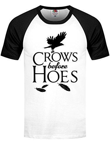 T-Shirt Crows Before Hoes Baseball da uomo in bianco