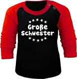 Baby/Kinder Baseball Langarm T-Shirt (Farbe: schwarz-rot) (Gr. 98/104) Große Schwester