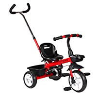 LLF Childrens 3 In 1 Trike 3 Wheel Bike with Push Handle, Kids Toddler Bicycle Tricycle, for 18 Month - 5 Years Old ( Color : Red )
