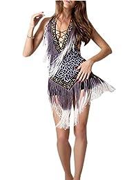 d5e4bf0da805 zhbotaolang Vestito da Ballo Latino Americano Donna - Professionale Vestiti  Frangia Splendente V-Collo Tango