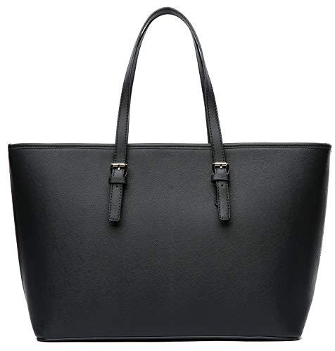 Vanessa & Melissa Damen Handtasche großer Shopper Schwarz elegant, wahlweise mit Fellbommel Anhänger