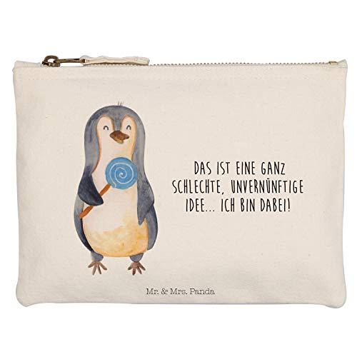 Mr. & Mrs. Panda M Schminktasche Pinguin Lolli - Pinguin, Pinguine, Lolli, Süßigkeiten, Blödsinn, Spruch, Rebell, Gauner, Ganove, Rabauke Schminktasche, Kosmetiktasche, Kosmetikbeutel, Stiftemäppchen, Etui, Federmappe, Makeup