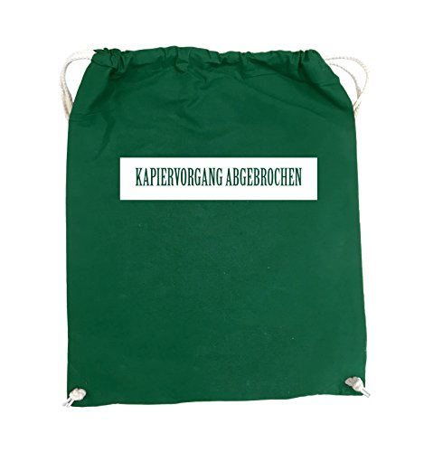 Comedy Bags - KAPIERVORGANG ABGEBROCHEN - Turnbeutel - 37x46cm - Farbe: Schwarz / Silber Grün / Weiss