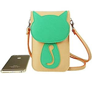 WaitingU 3D Cartoon Cute Cat Touch Screen Cell Phone Case Large Multipurpose Two Separated Pouches Crossbody PU Leather Flip Cover Shoulder Bag Detachable Strap for Smart Phones under 6''- PinkGreen